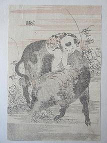 Japanese Original Woodblock Print by Hokusai