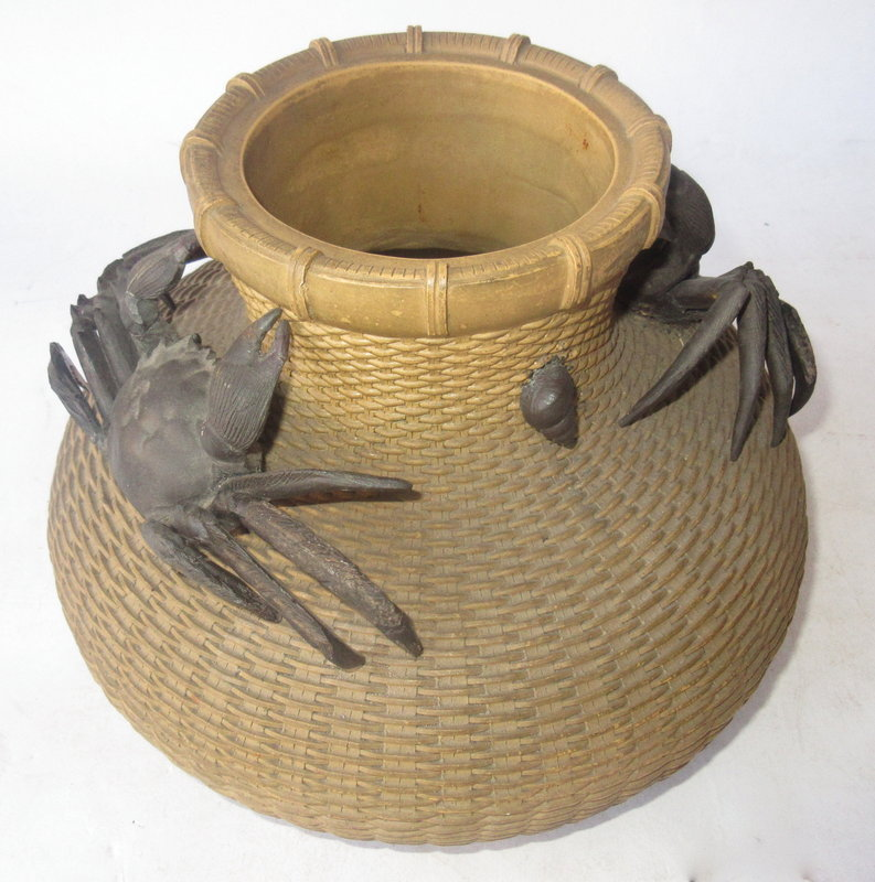 Chinese Yixing Basket with Crabs