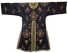 Antique Chinese Blue Silk Robe with Flowers