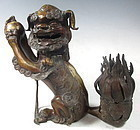 Chinese Ming Bronze Foo Dog Censor