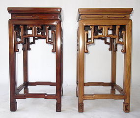 Antique Chinese Pair of Tall Hardwood Stands