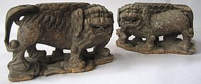 Ming Dynasty Chinese Carved wood Fu dogs