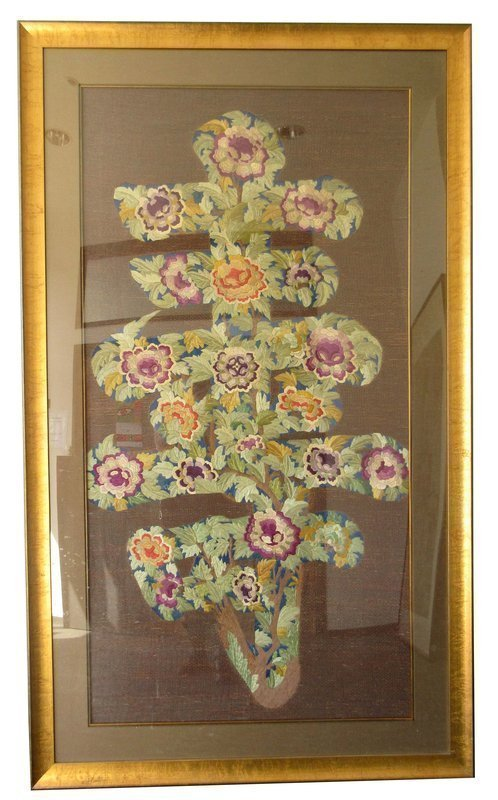 Chinese Framed Woven Silk Flower Shou Tapestry