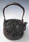 Japanese Antique Wonderful Iron Tetsubin with Bird
