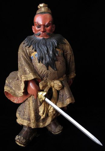 Japanese Antique Wood Carved Doll of Shoki the Demon Queller