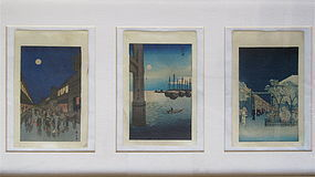 Japanese Set of 3 Woodblock Prints by Hiroshige