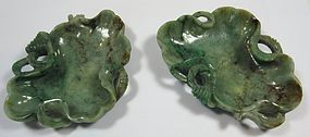 Antique Chinese Pair of Jade Brush Washers