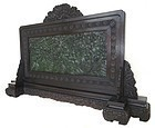 Chinese Carved Jade Plaque with Zitan Stand