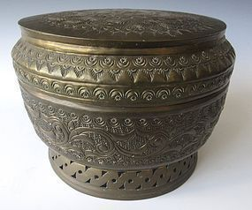 Antique Round Metal Container