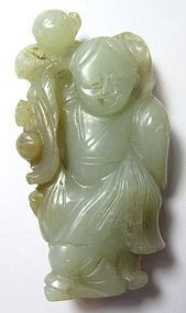 Antique Chinese Jade Carving of Man and Child