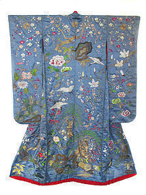 Japanese Antique Wedding Kimono of Blue Silk with Cranes and Turtles