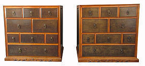 Pair of Chinese Rosewood and Burl Side Chests