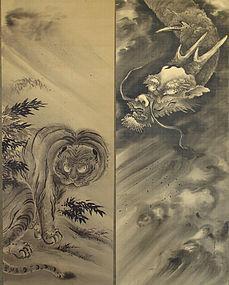 Japanese Pair of Dragon and Tiger Scrolls by Sumiyoshi Hiroyuki