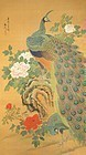 Japanese Scroll Painting of Peacocks Attributed to Tani Bunchō