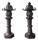 Stunning Large Japanese Pair of Antique Iron Lanterns