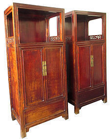 Antique Chinese Pair of Hardwood Cabinets