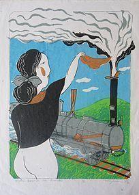 Large Japanese Woodblock Print by Mayumi Oda