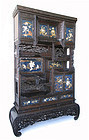 Antique Japanese Cha Tansu with Blue Lacquer Panels