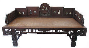Chinese Qing Dynasty Hardwood Day Bed with Marble
