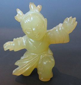 Antique Chinese Jade Carving of Child