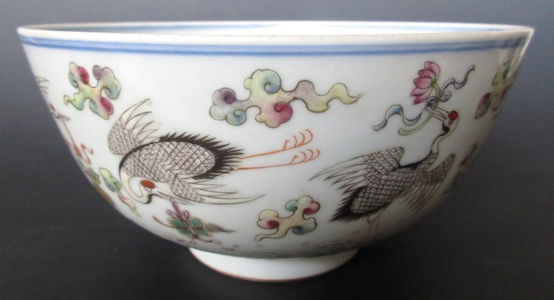 Antique Chinese Porcelain Jiaqing Bowl with Cranes