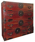 Antique Japanese Two Section Lacquered Tansu