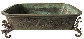 Antique Japanese Bronze Suiban with Tigers and Dragon