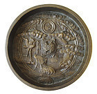 18th Century Japanese Bronze Mirror with Turtle and Cranes