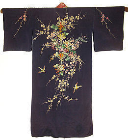 Japanese Kimono with Embroidered Birds and Flowers