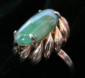 Chinese Jadeite and 14K Gold Ring