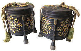 Antique Japanese Pair of Lacquer Kaioke Boxes