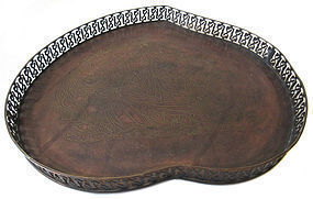 Chinese Bronze Peach Tray with Inlay