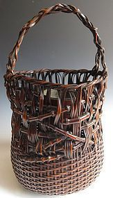 Antique Japanese Ikebana Bamboo Basket