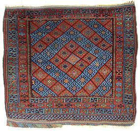 Antique Kurdish Blue Diamond Carpet
