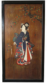 Antique Japanese Geisha Painted Door