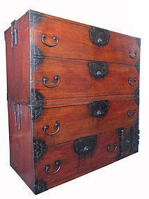 Japanese Edo Period Two Section Isho Tansu
