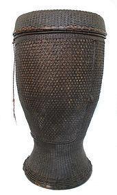 Burmese Antique Akha Woven Bamboo Basket