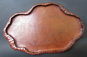 Japanese Antique Carved Wooden Leaf Tray