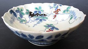 Antique Japanese Nabeshima Bowl with Squirrel and Grapes