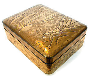 Stunning Rare Japanese Antique Gold Lacquer Letter Box