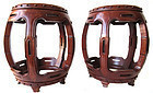 Antique Chinese Pair of Hardwood Barrel Stools