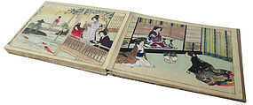 Antique Japanese Book of Prints w/ Beautiful Ladies