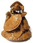 Charming Antique Japanese Boxwood Netsuke of Turtles