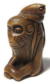 Antique Japanese Netsuke Carving of Monkeys