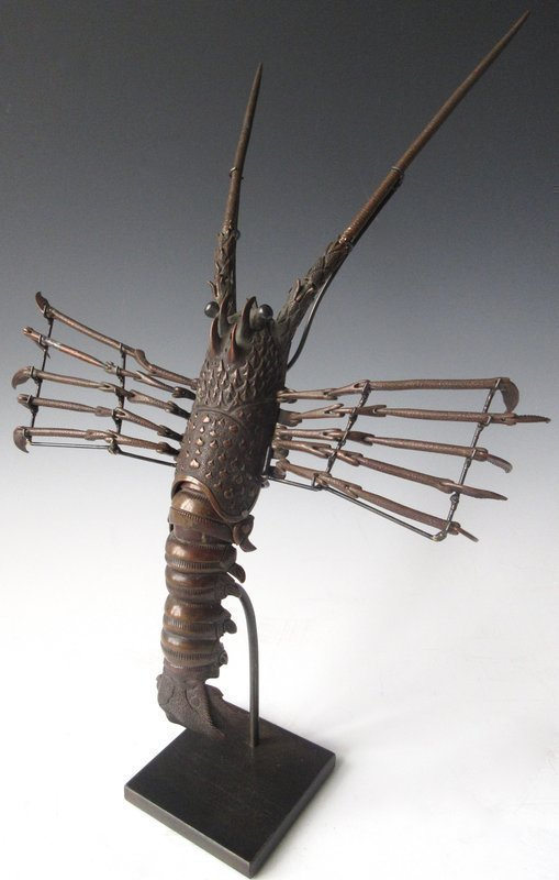 Mounted Jizai Okimono Articulated Spiny Lobster