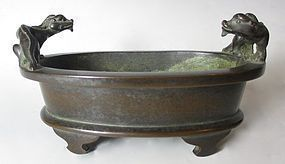Chinese Antique Bronze Censor with Two Chimera