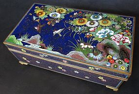 Antique Japanese Cloisonne Box with Birds