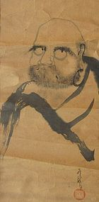Antique Japanese Bodhidharma  Painting