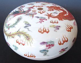 Antique Chinese Porcelain Round Container