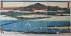 Antique Japanese Utagawa Hiroshige Triptych  Landscape Print